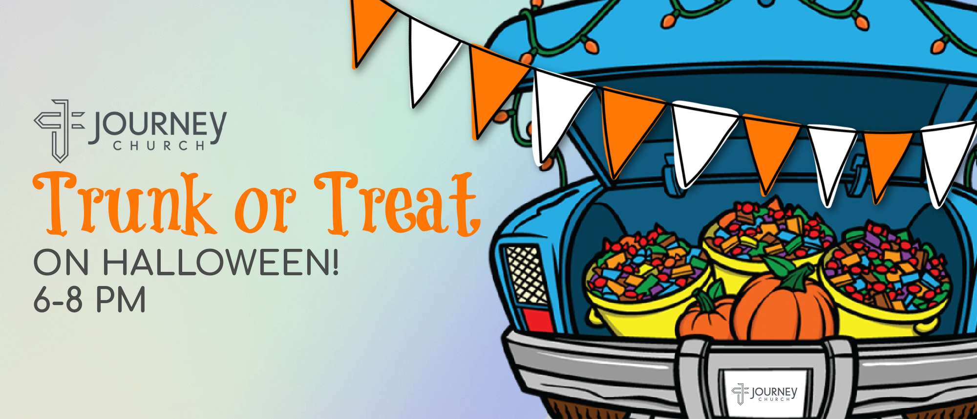 Stop by Journey Church on Halloween night for some fun trunk-or-treating!