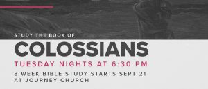 Join us every Tuesday at 6:30 PM at Journey Church for an 8 week Bible study.
