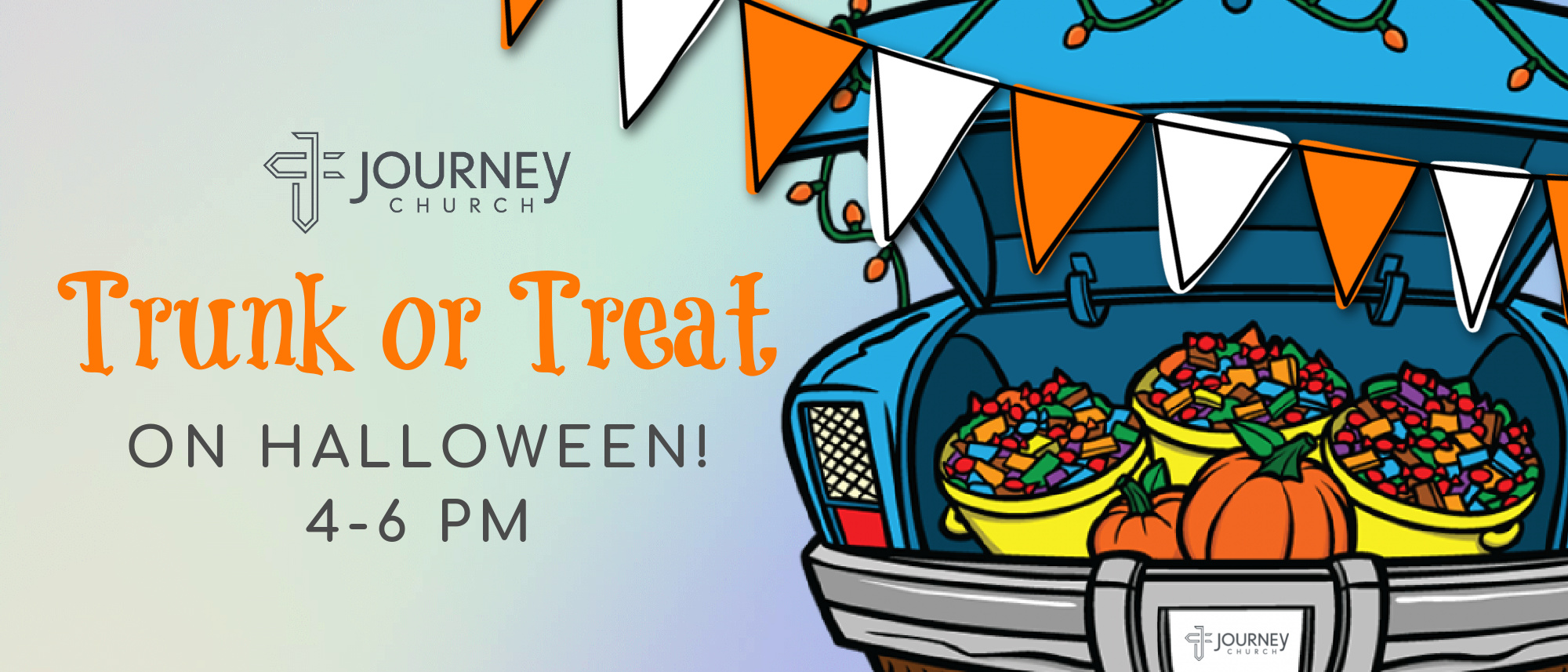 Stop by Journey Church on Halloween from 4-6 for our annual Trunk or Treat event! Free food and candy!
